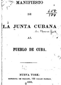 MANIFIESTO DE LA JUNTA CUBANA AL PUEBLO DE CUBA